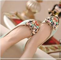 free shipping 2014 sweet flat heel open toe bow beaded shoes flat sandals gentlewomen