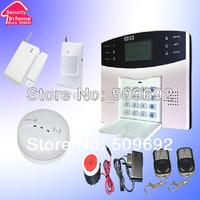 LCD GSM Alarm System Remote Control PIR sensor Door sensor Smoke alarm