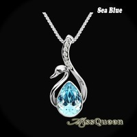 Elegant Crystal Swan Pendant Exquisite Water Drop Austrian Crystal Silver Plated Swan Necklace Fashion Party Jewelry DP015