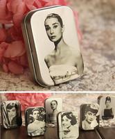 Freeshipping Audrey Hepburn tin box /Collectables/ mini iron case/storage case/pills storage box coin box 24pcs/lot TB007