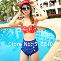 2014 New RETRO Women Swimwear Vintage Push Up Bandeau HIGH WAISTED Bikini Set Women's Bathing Suits Plus Size XL Drop Shipping
