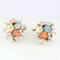 Min Order $10 Korean Fashion Jewelry Colorful Flower Stud Earring Sweet Female Earring