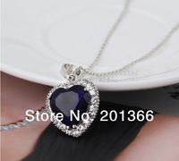 HOT!The New Arrival Wholesale Elegant Titanic HEART OF THE OCEAN Zircon Blue Pendant Crystal Rhinestone Jewelry