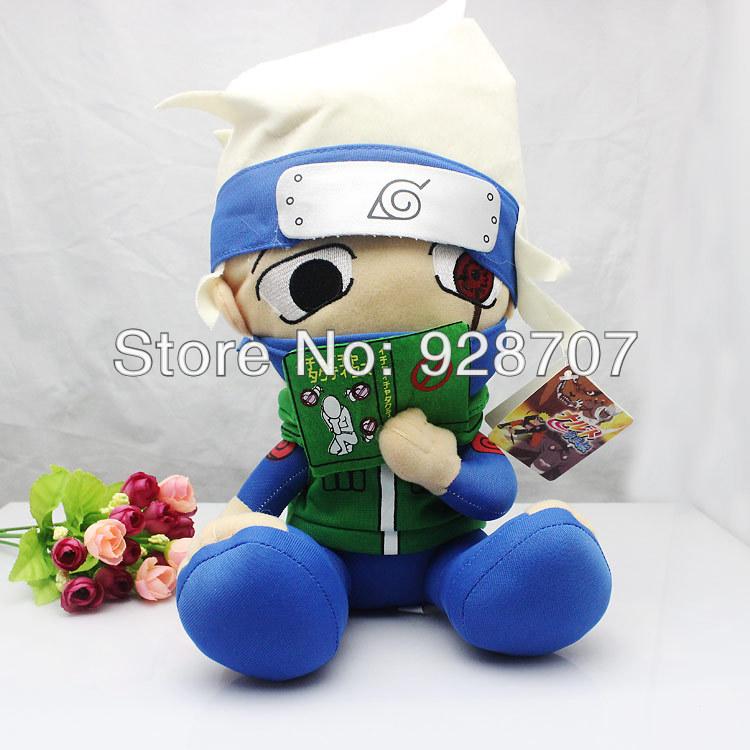 free shipping 30 inch anime naruto Stuffed toys sitting and reading a book Kakashi plush toy 1pce/pack(China (Mainland))