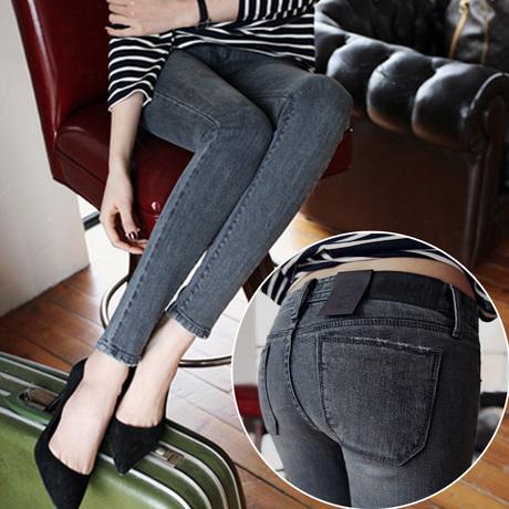 New 2014 Slim was thin big yards long black pants feet jeans pants tide female winter(China (Mainland))