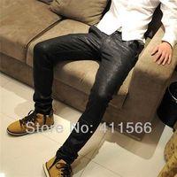 Bright PU Men's Korean Stylish Skinny Chaparajos Pants Pencil Jeans Imitation Leather Jeans Feet Denim Trousers Free Shipping