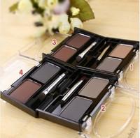 Free Shipping  EYEBROW POWDER ,Eye Brow Shadow with Brush  2 color eyebrow cake  makeup