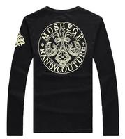 3.25 Shopping Festival Free shipping Fashion t shirt men brand 2014 New long sleeve printing tee Plus size 4XL 5XL 6XL  black