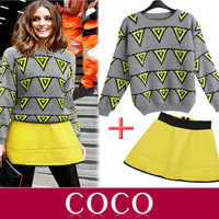 2014 fashion ladies knitted sweater inverted triangle hit color zipper bust waist skirt suit