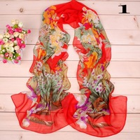 Whole Sale 2014 New spring and summer female long design chiffon Scarf women color block silk wraps Flower print free shipping