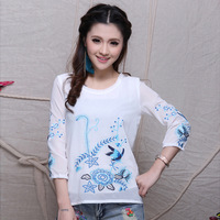 Spring national 2014 trend women's three quarter sleeve female double layer embroidered lace collar chiffon shirt