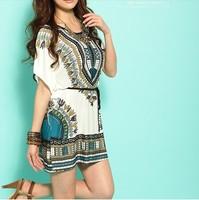 Free shipping 2014 New Miniskirt Lce Silk Cotton Bat Sleeve Round Brought National Wind Match Chatelaine Dress X58