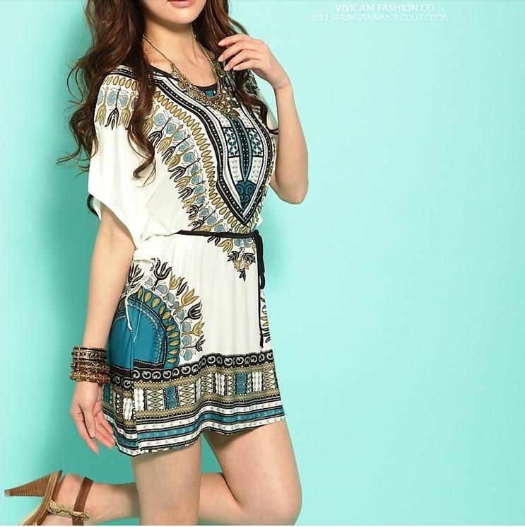 Free shipping 2014 New Miniskirt Lce Silk Cotton Bat Sleeve Round Brought National Wind Match Chatelaine Dress X58(China (Mainland))