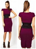 2014 new arrival spring and summer fashion short-sleeve o-neck lace unique slim hip one-piece Pencil dress free shipping