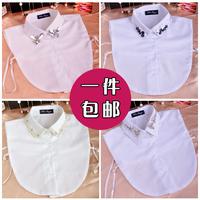 Free shopping Half-length beaded shirt rhinestone false collar shirt collar cutout white