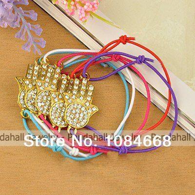 Fashion Adjustable Bracelets, with Zinc Alloy Rhinestone Links and Elastic Cord, Hamsa Hand, Mixed Color(China (Mainland))