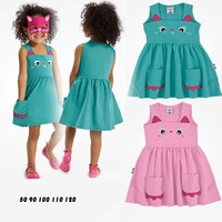 New spring 2014 summer cat female child cotton one-piece girl dress clothing set baby rompers free shipping