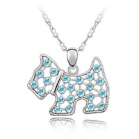 Free Shipping Wholesale hot sell Platinum charm style Mini dog Czech crystal pendant Necklace,4pcs/lot