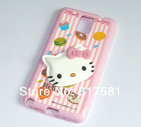 Note 3 Silicone Rubberized Pink Hello Kitty  Mobile protective shell / Phone sets