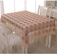 Tablecloth embroidery table cove table cloth 150*220cm (60*90 inch)Burgundy flower design  for home hotel  weeding  dining room