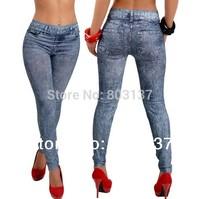 2014 Women's New Stylish Lady Solid Black & Gray Denim Like Faux Jean Leggings Stretchy Skinny Leg Pants Drope Shipping S102-281