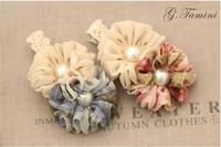 Double color chiffon pearl flowers hair clip children hair accessory princess hair bands Boutique accessories XM-63