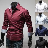 2013 M-3XL  Men's Characteristic bag buckles in solid color shirts  men's shirt sleeve Tiny lattice bump a color 9022
