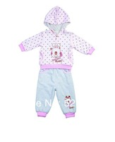 Free Shipping Happy Baby Babudog Retail 1 Set Polka Dot New 2014 Spring Autumn 2PCS Hooded Winter Children Clothing Sets Girl