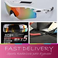 Free shipping, New High quality Brand O Radarlock Path Bike Cycling Sports polarized Sunglasses bicycle eyewear 5 Lens for Men