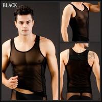 Black undershirt sexy man undershirts thermal underwear for men black Vest Sleeveless Top Blouses Nylon Fashion Men Pajamas