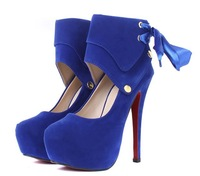 2014 Sexy Women Shoes High Heel 14cm Heel Shoes Red Bottom Women Pumps Black Blue Free Shipping