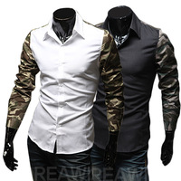 M-XXL, 2014 New Fashion Hot Sale Men 3  Colors Stylish Slim Fit Dress Shirt Leisure Shirt Camouflage shirt  9046
