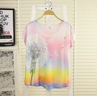 [Magic] New 2014 Spring and summer style thin plus size loose batwing sleeve women's t-shirt Dandelion print Top Tee