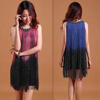 2014 spring ds fashion chains gradient tassel stage formal dress one-piece dress