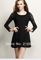 2014 New fashion Europe women vintage cute lace hollow out one-piece Dress Casual Slim ladies'  sexy party dress#E098