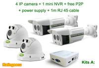 IP camera kit with 4 ip cameras and 4ch mini NVR for home security system 720P IP camera kit 1.0 MP free P2P (R-KIT-A)