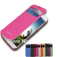Galaxy S4 S View Flip Leather Cover Case Battery Door Back Housing for Samsung Galaxy S IV I9500 Free shipping