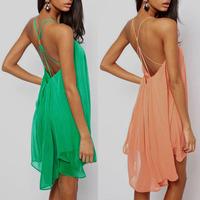 Free Shipping 2013 fashion sexy spaghetti strap backless metal buckle cross cutout sleeveless solid color chiffon dress
