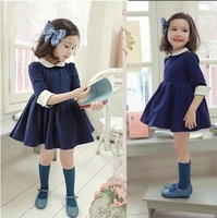 2014 children's clothing spring female child pleated skirt peter pan collar fifth sleeve skirt kid's skirt