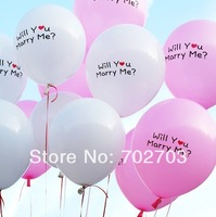 "free shipping Wedding decorations 100pcs/bag 12inch ""Will You Marry Me"" Pear Ball Balloon for Romantic Propose"