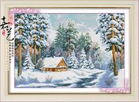 Free shipping DIY diamond painting retail 60*40CM 3Dsquare resin cross stitch Inlaid decorative.Snow views.