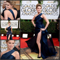 New Arrival 2014 Amber Heard One Shoulder Side Split Ruched Dark Navy Sexy Celebrity Evening Golden Globe Dresses
