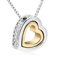 Bridal Wedding Jewelry  Heart Necklace  Austrian Crystal Pendant  Fashion Accessories For Women  10476