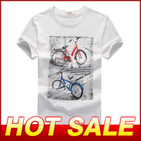 New Hot Sale 2014 Men's Short Sleeve Cotton T Shirt Pattern T-shirts Male Fashion Top Tee Brand Causal Slim Tshirt For Men X060