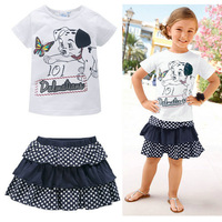 Retail 2 pcs/set 2014 spring summer fashion sport kids clothes sets cartoon T-shirt + dot dress princess girls clothing sets
