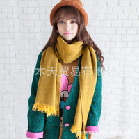 Korean leisure wild winter unisex solid thick wool cashmere scarf wholesale wool long scarf