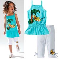 Retail 2 pcs/set 2014 spring summer fashion sport kids clothes sets T-shirt + children pants girls clothing sets free shipping