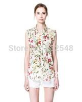 New Women Chiffon Blouse Shirt Lady Fashion Sleeveless Flower Print Quality Tank Tops