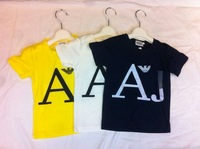 New's brand chirdren ,gril's O-neck short sleeve shirt,fashion children's yellow biack  and white color cotton t-shirt