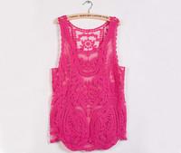 2014 Women Embroidery Crochet Vest Lace Shirt Plus Size Blouse M L XL Solid Cape Hollow Out Summer Gauze 7 Colors New Fashioin